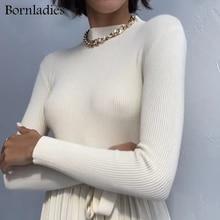 Bornlady-suéteres básicos de cuello alto para mujer, suéteres cálidos de punto, Tops minimalistas sólidos baratos, otoño e invierno, 2021