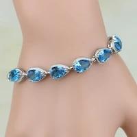925 sterling silver jewelry mystic water drop blue cz white cubic zirconia charm bracelets for women