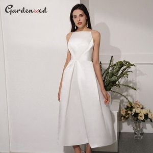 A-Line Satin Prom Dresses Sexy Spaghetti Strap Backless Evening Gown Simple White Dresses Woman Party Night Robe Soiree 2020