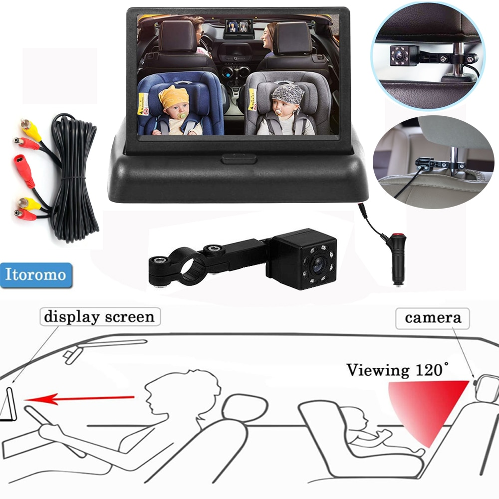 Infant Rear Display View Camera 360 Adjustable Baby Car Mirror Facing Infant Infrared Night Vision Monitor Display