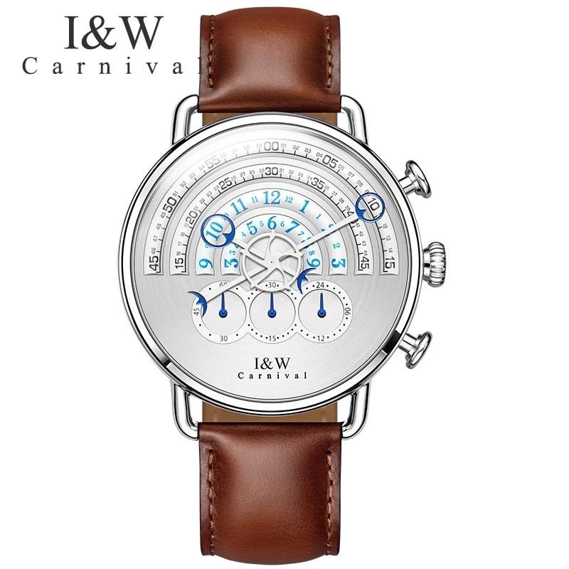 CARNIVAL Luxury Brand Fashion Watch Man Waterproof Unique Chronograph Runway Dial Sport Quartz Wristwatch 2021 Relogio Masculino