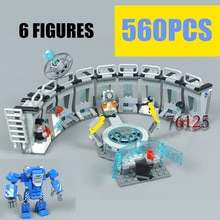 Modular MOC 76125 Building Blocks Iron Man Mecha Showroom Model Sets Movie Endgame City Brick Kids T