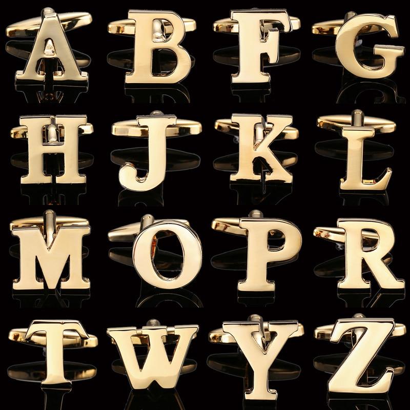 High quality French Cufflinks for men A-Z 26 letter Business Golden Alphabet Cuff-links for men Cuff