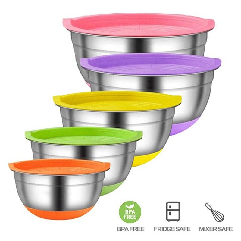 5 unids/set cuencos de mezcla de acero inoxidable con tapas para cocina almacenamiento de alimentos batidor de huevos ensaladera con fondo colorido antideslizante