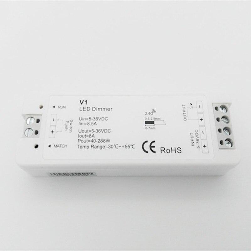 1CH * 8A 5-36VDC CV controlador de atenuación (Push Dim) V1 Led Dimmer 12 V/24 V V1 8A receptor de salida para 5050 3528 tira de un solo color