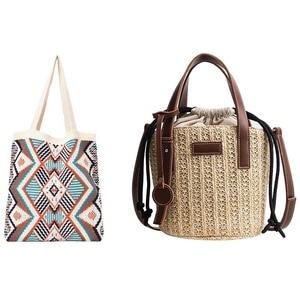 Women Straw Shoulder Bag Vintage Straw Bags Shoulder Bag & Fashion Winter Bohemian Woven Women's Shoulder Bag White