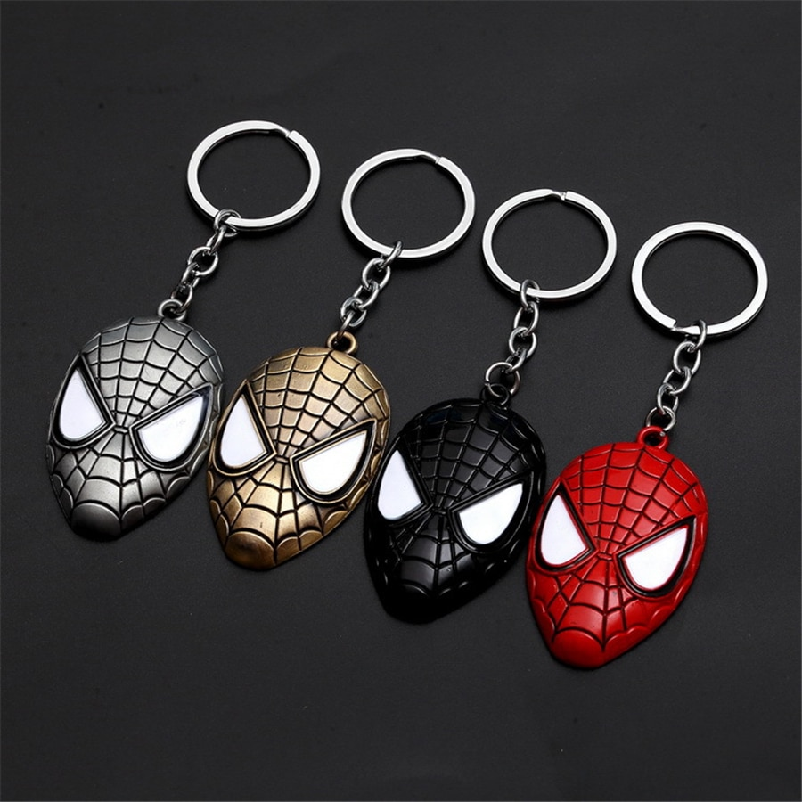 New Metal Marvel Avengers Spiderman Mask Keychain Cartoon Figure Superhero Spider Man Pendant Key Chain Key Ring Trinket Gift