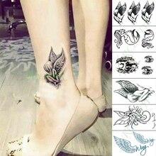 Tatuaje temporal a prueba de agua pegatina ala de Ángel sirena tamaño pequeño arte tatuaje falso flash tatuajes para hombres y mujeres