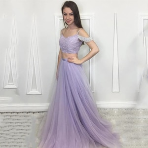 Eightale Two Piece Evening Dress V-Neck A-Line Beaded off the Shoulder Tulle Prom Dress Party Formal Graduation Gown avondjurken