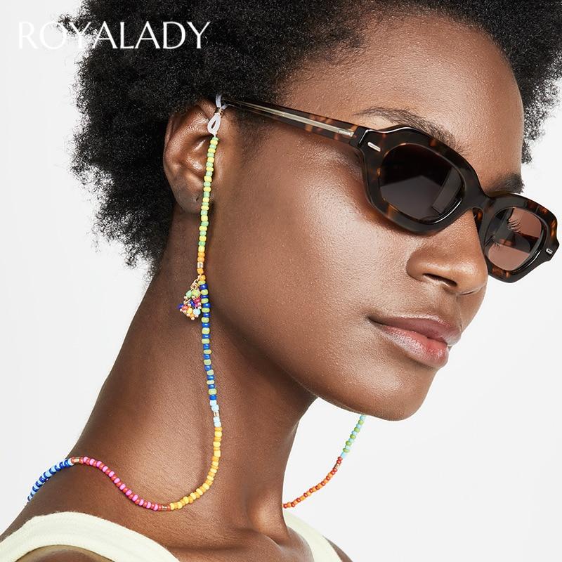 Boêmio colorido grânulo óculos corrente óculos de sol cinta para mulheres verão estilo praia leitura landyard eyewear corrente