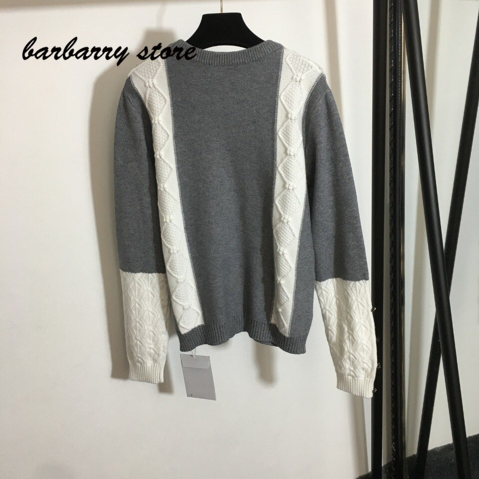 21 luxury design high-end color contrast splicing is a women's long sleeved pullover, temperament and versatile knitted sweater enlarge