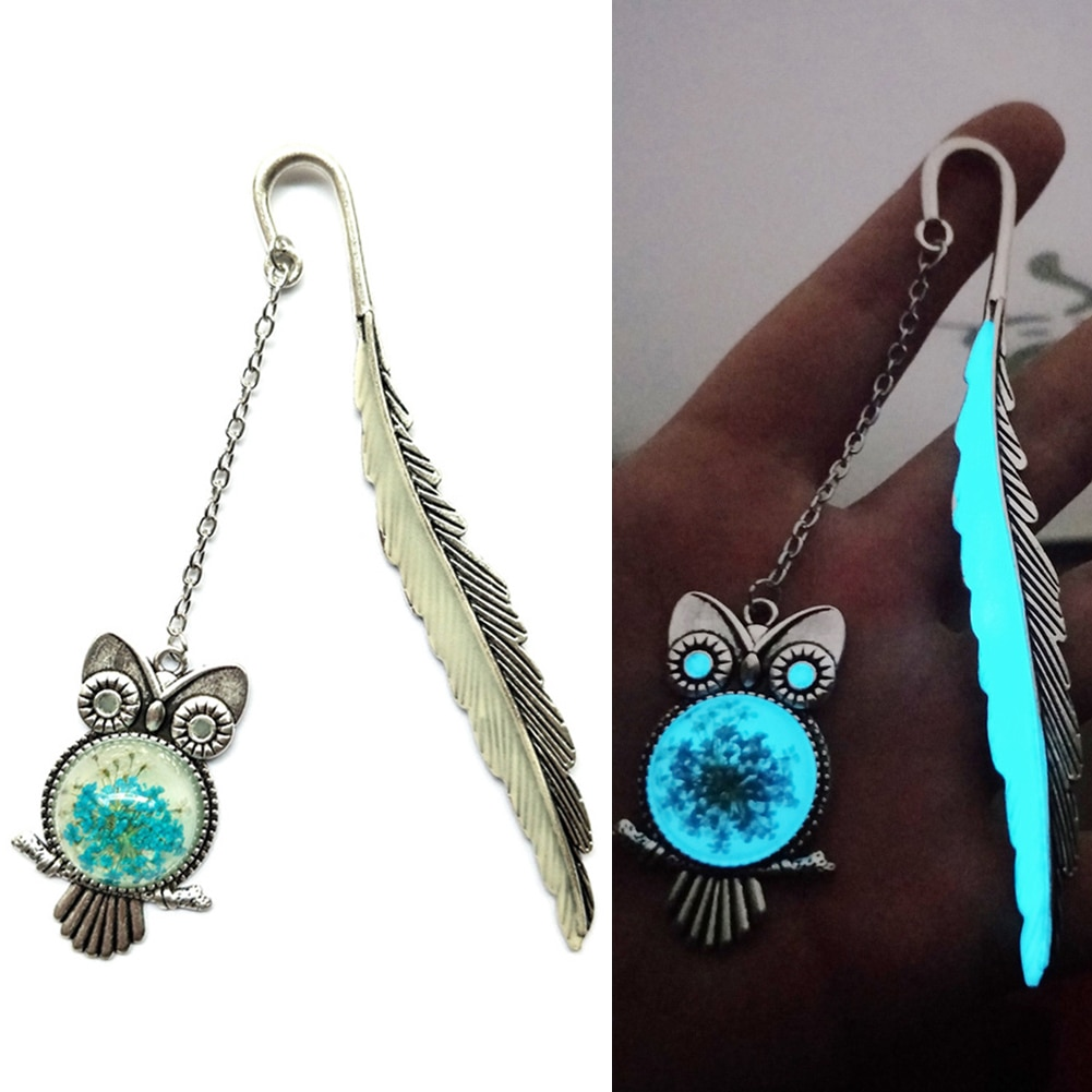 Feather Owl Design Glow In The Dark Label Luminous Bookmark Read Maker Book Accessories