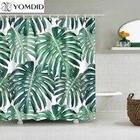 Rideaux de douche en Polyester impermeable  plantes tropicales vertes  impression de feuilles  pour salle de bain
