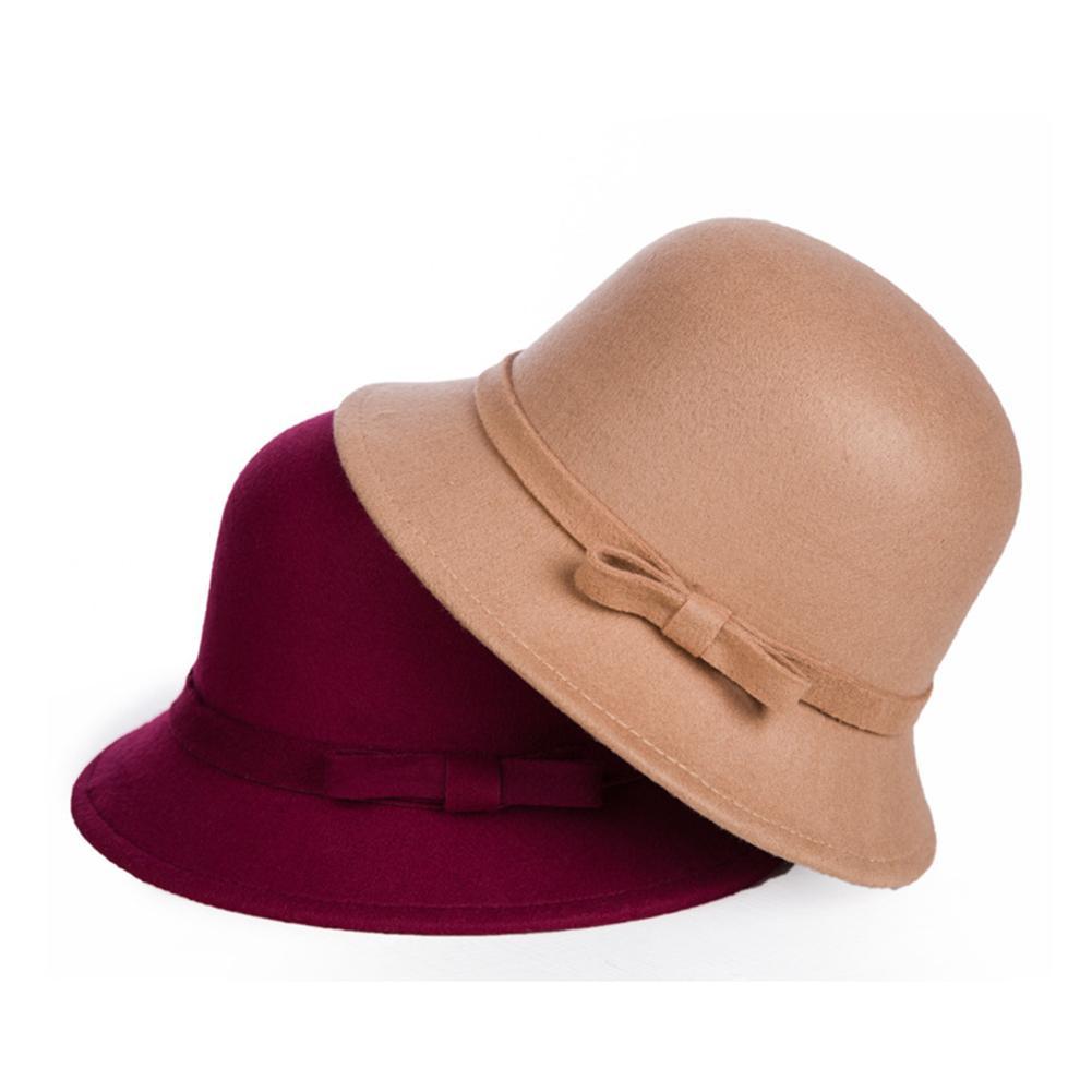 HOT SALES!!! New Arrival Fashion Women Solid Color Warm Woolen Bow Cloche Autumn Winter Bowler Hat C