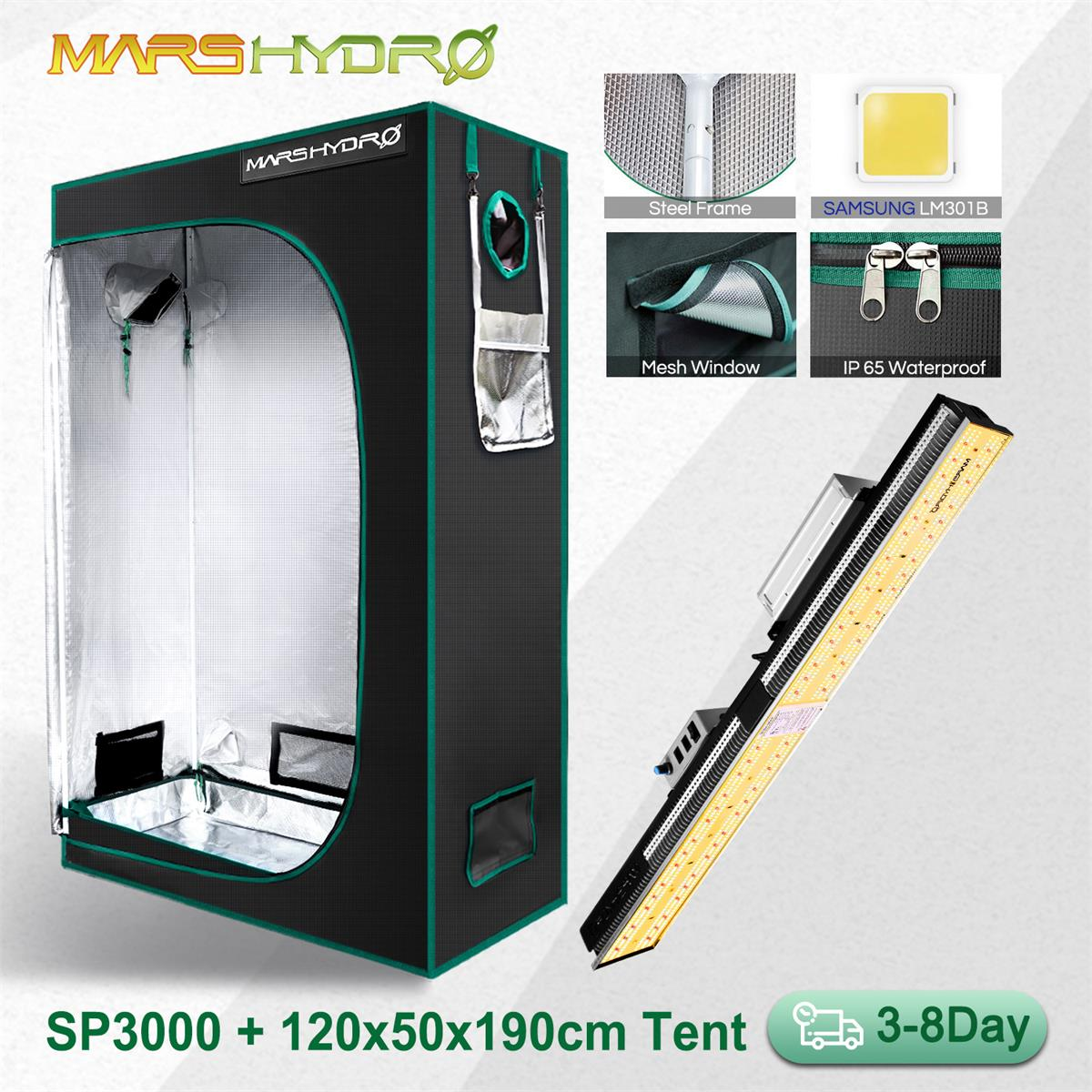 Mars Hydro SP 3000 120x50x190CM Grow Tent LED Grow Light Samsung Lm301D 300W Meanwell Driver Hydroponics Phytolamp for Plants