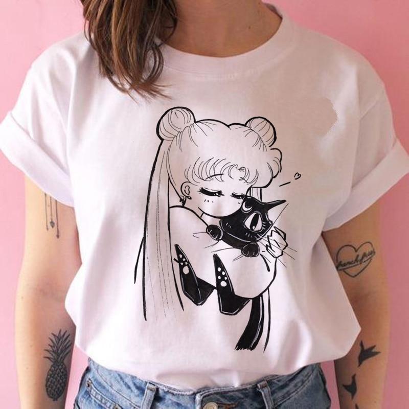 Lus Los sailor moon t shirt harajuku women ulzzang kawaii cat sailor moon tshirt  summer t-shirt Casual korean Cartoon