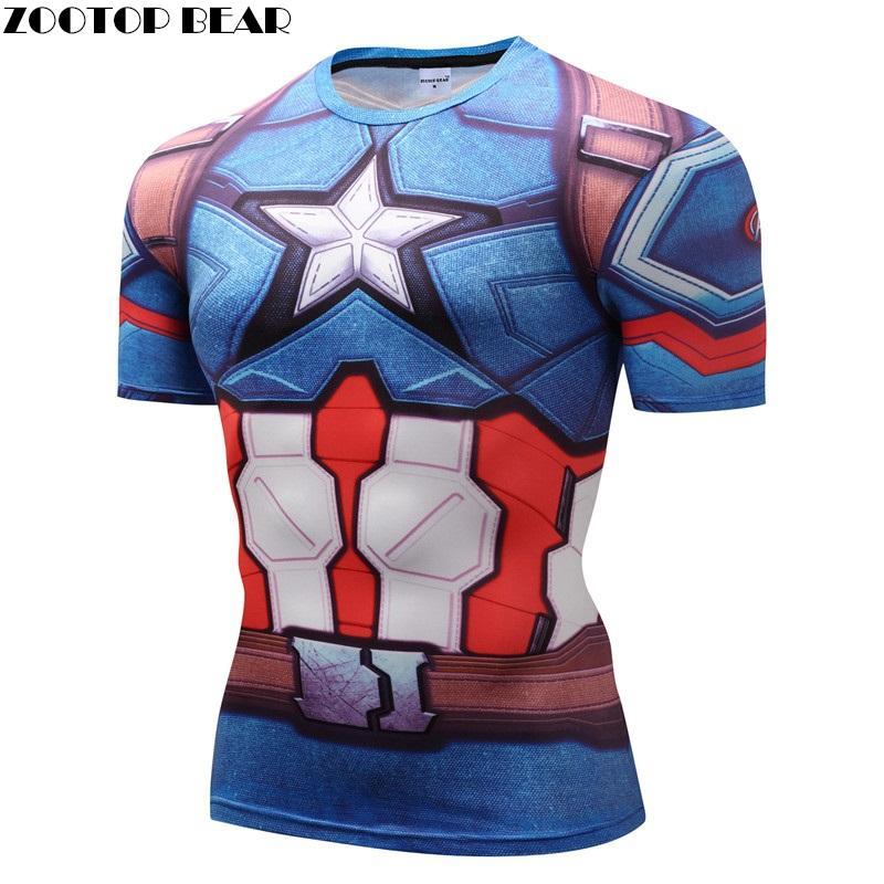 Capatain American/Iron Man/Winter Soilder camisetas de compresión de Fitness camisetas de manga corta culturismo Top camiseta de marca