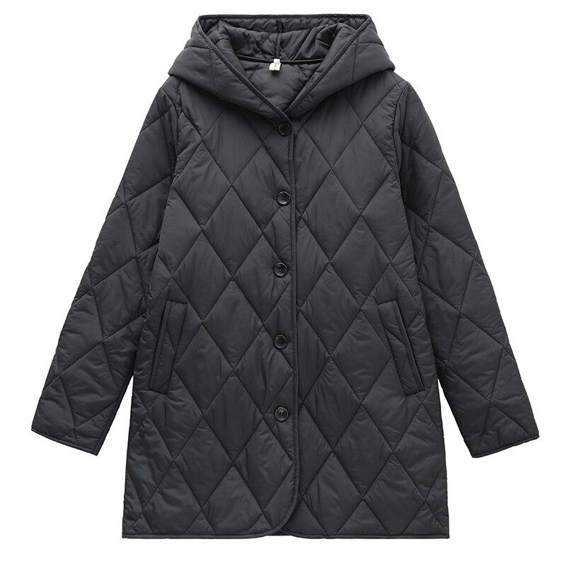 الشتاء النساء خفيفة رقيقة أسفل سترة ملابس قطنية سوداء جاكيتات طويلة الأكمام معطف دافئ أبلى منتصف طول جاكيت مبطن