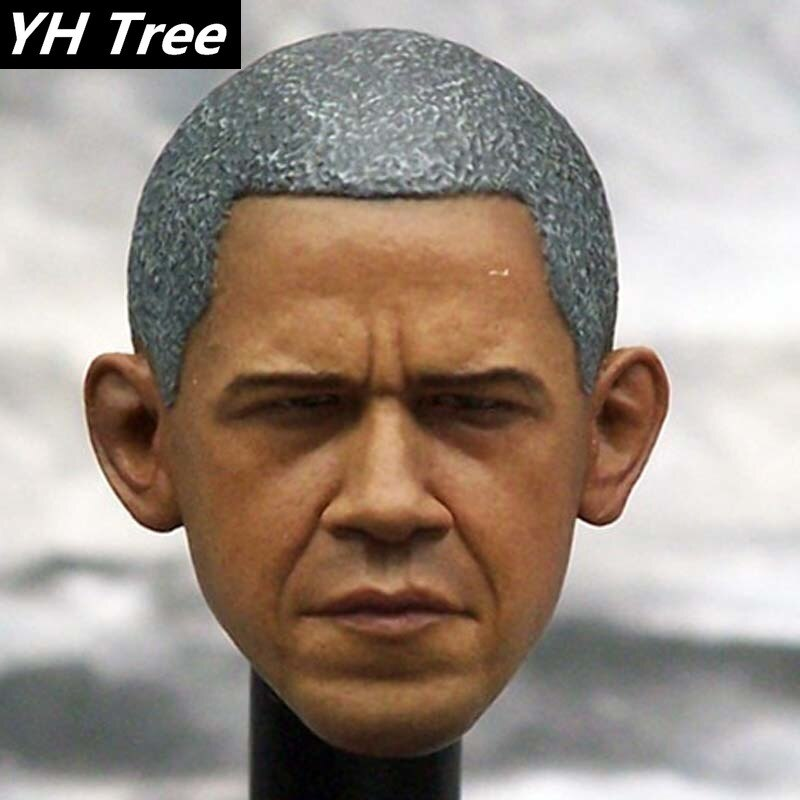 1/6 ölçekli el yapımı kafa heykel abd Obama başkan kafa oyma heykel modeli Fit 12 inç vücut aksiyon figürü sıcak oyuncak bebekler DIY