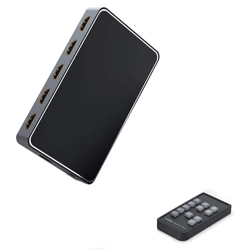 4K HDMI التبديل 6X 1 مستخرج الصوت 6-Port HDMI التبديل صندوق مع البعيد HDMI متعدد محول المنافذ 6-In-1 إخراج 3.5 مللي متر الصوت