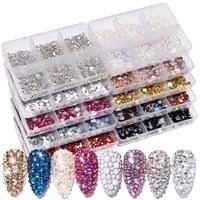 15 nail art flat mixed colors ab white champagne 6 grid nail jewelry sticker diamond diy nail art jewelry nail decoration