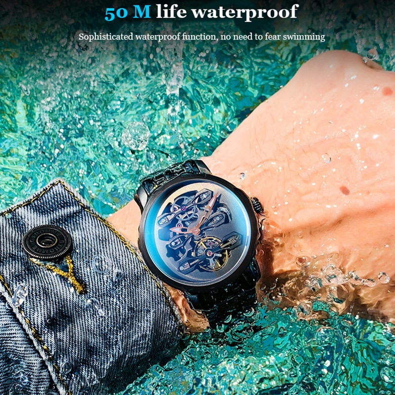 AILANG reloj genuino suizo, reloj mecánico para hombres, hueco automático, impermeable, nueva banda de acero, reloj de negocios para hombres