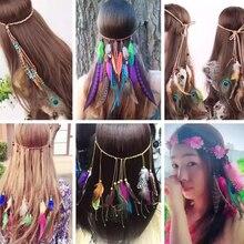 Bohemian Retro Ethnic Long Tassel Peacock Feather Hair Accessories Headdress Indian Hair Band Hair R