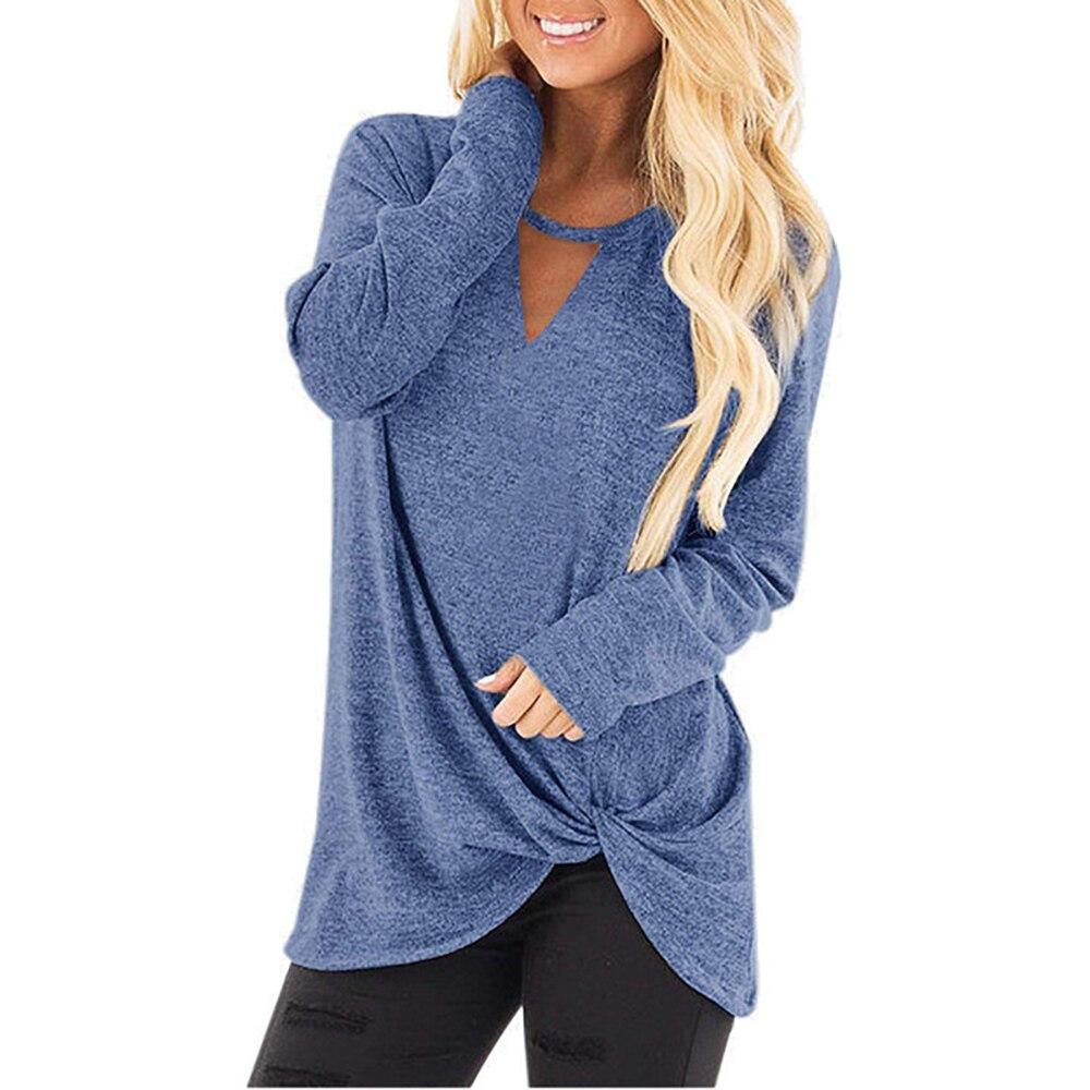 Outono e inverno feminino novo decote irregular bainha torção manga longa algodão colorido camiseta casual senhoras monden para diário