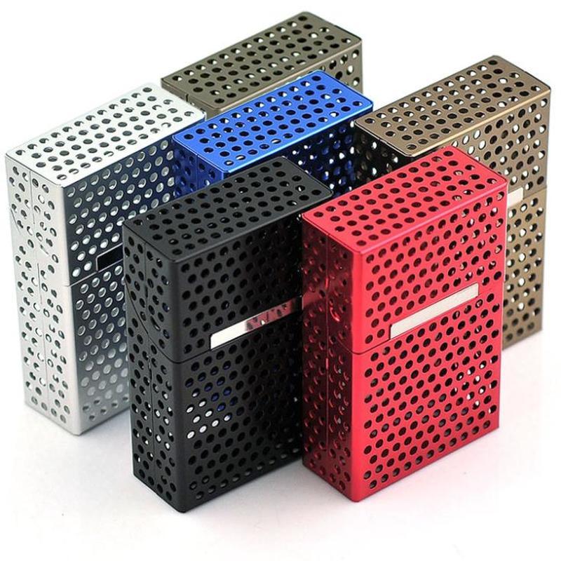 Ligero, hueco, de aluminio, tapa magnética, paquetes de cigarrillos, caja de cigarrillos, cigarro, tabaco, caja de almacenamiento, caja de bolsillo