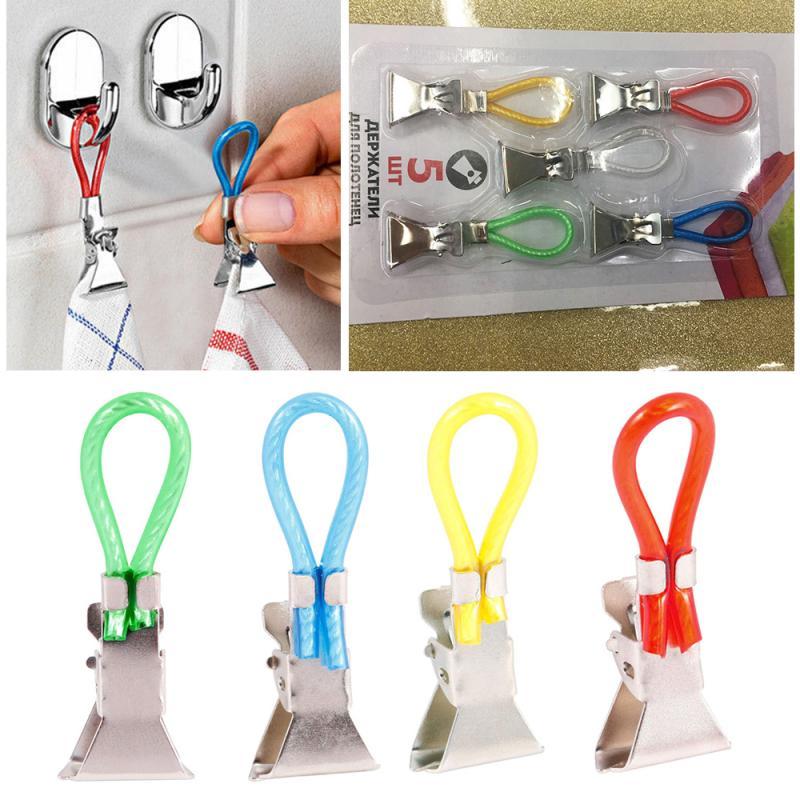 Porte-serviettes à crochets en métal   Paquet de 5 Clips porte-serviettes porte-serviettes Clips suspendus, Clips à crochets, organisateur de cuisine, salle de bain