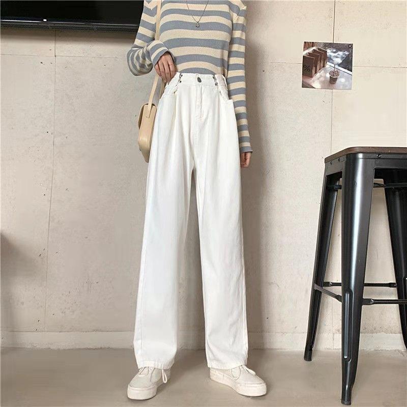 Women's Jeans Adjustable Waistline with Buckle Women's 2021 Autumn Retro Loose Straight Jeans Street