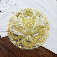 1 pcs large round golden dragon embroidered patch sew on garment appliques patches for fashion cheongsam wedding dress accessory