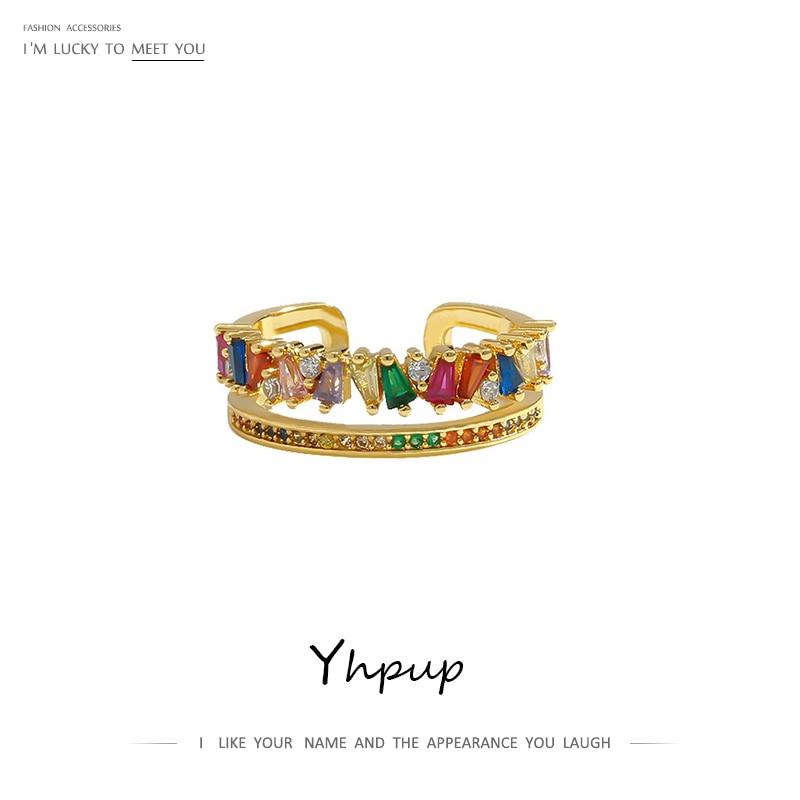 Yhpup 2020 классическое кольцо с радужной короной, Открытое кольцо с разноцветным цирконием, медное золото, Женское кольцо для женщин, вечерние ювелирные изделия для свадьбы
