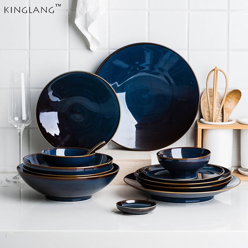 Jinlang 1 / 2 / 4 الطعام مجموعة الأزرق الداكن السيراميك الرجعية المزجج أدوات المائدة الأسرة وعاء الأرز مجموعة