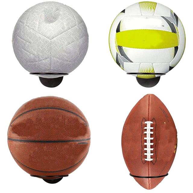 1PC Wall-Mounted Ball Holders Display Racks for Basketball Soccer Football Volleyball Exercise Ball Black Home Organizer Rack