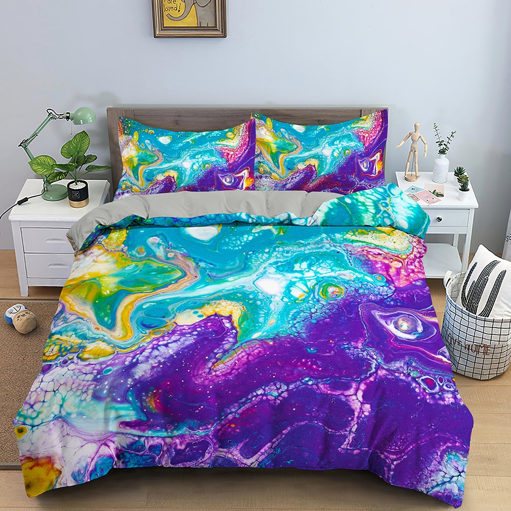 مجردة انبهار طقم سرير طقم أغطية لحاف مع المخدة الملكة الملك الحجم أغطية السرير المعزي