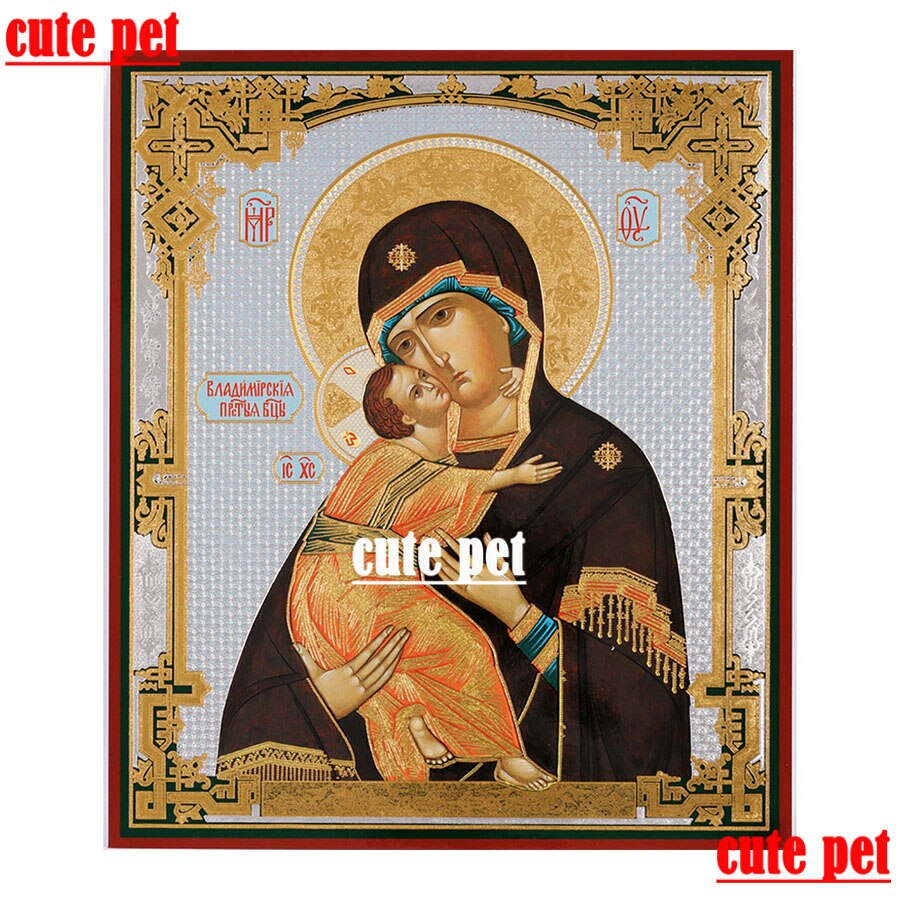 3d mosaico bordado virgem de vladimir russo ortodoxo casa decoração presente diy diamante ponto cruz papel de parede sem quadro arte