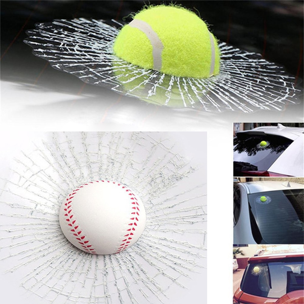 Divertido Auto coche cuerpo béisbol Fútbol Tenis estéreo vidrio roto 3D pegatina coche balón de ventana Hits Auto adhesivo pegatina Accessorie