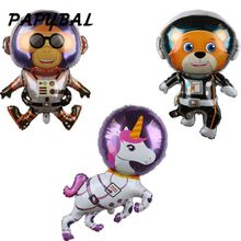 Cartoon Bear Monkey Unicorn Space Foil Balloons Baby Shower Birthday Party Decoration Kid Toy Astronaut Spaceman Balloon Globo