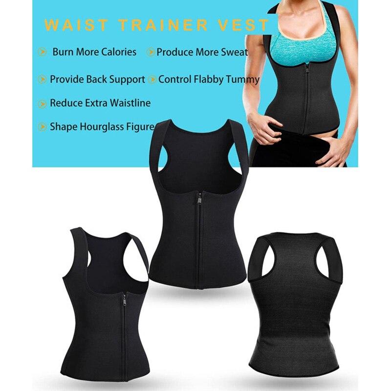 Women Neoprene Sauna Suit Hot Body Shaper Corset for Weight Loss with Zipper Waist Trainer Vest Tank Top Fitness Workout Shirt