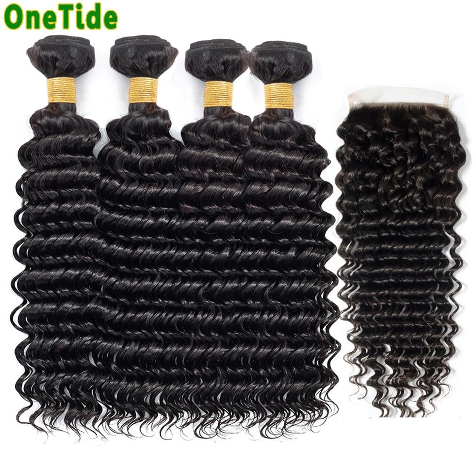 ONETIDE Cheap Wholesale deep Wave Bundles With Closure Brazilian Human Hair Weave 3 4 Bundles With Closure Hair Extensions