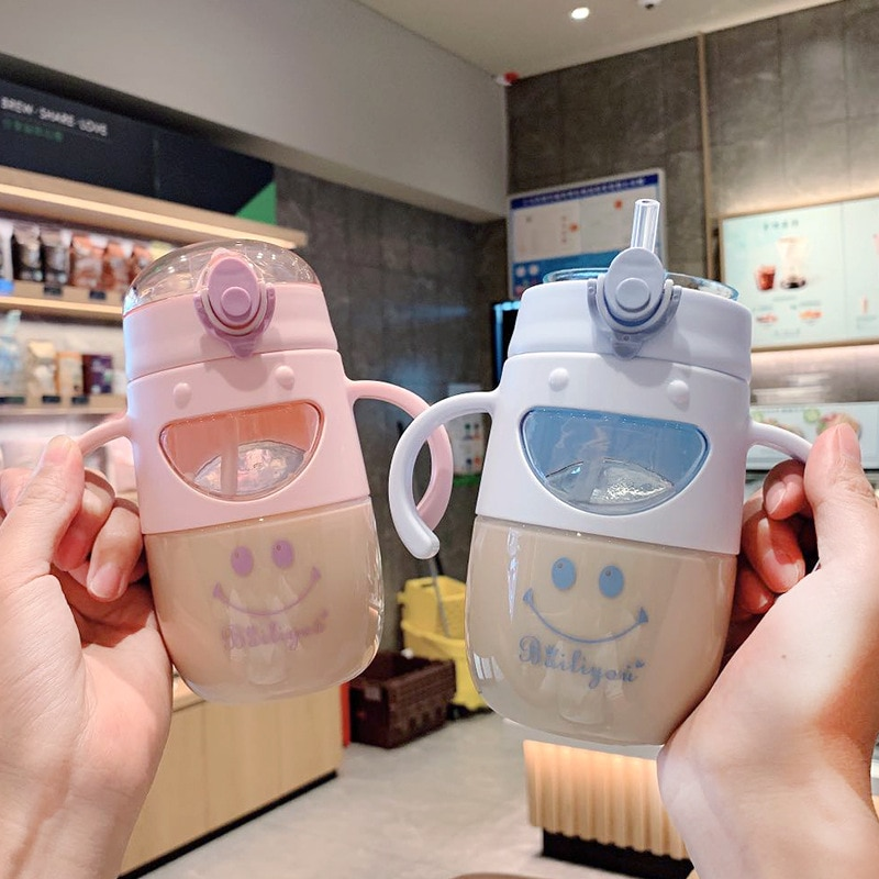 450ml Smiley Cartoon Portable Simple Drink Water Straw Bottle Cup Plastic for Baby Children Boy Girl Creative Gift Wholesale