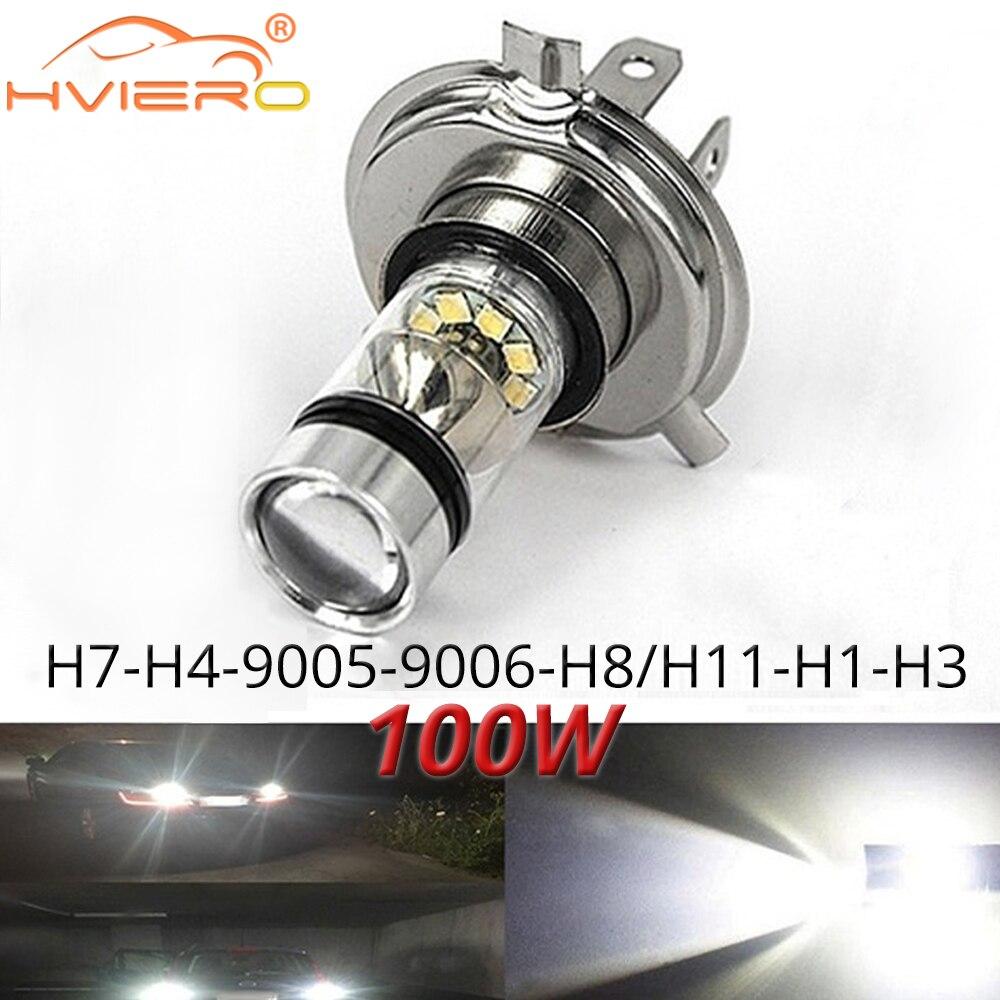 1X Fog Light 100W Led Car H4 H7 9005 9006 H1 H8 8000K Headlight White Light Fog Lamp Auto Plug Play Bulb Direct Day Light
