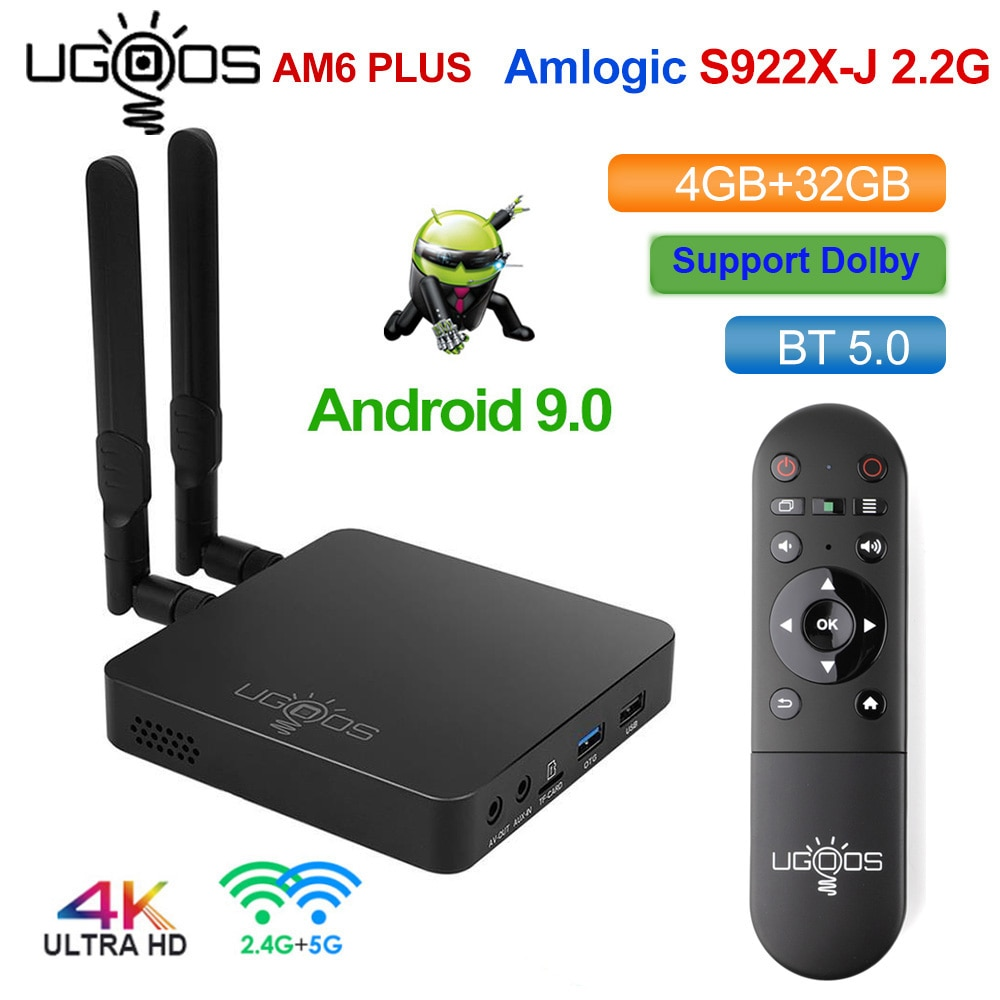 UGOOS AM6 Plus Amlogic S922X-J 2.2GHZ TV BOX Android 9.0 4GB DDR4 32GB Smart TV BOX AM6 Pro S922X Wi