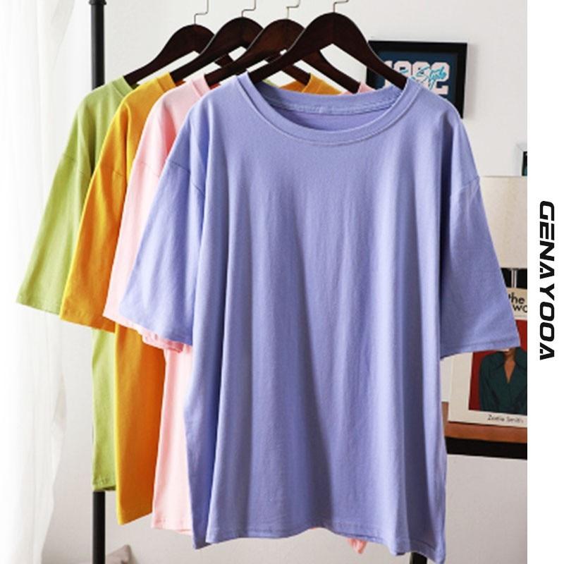 Genayooa 100% Cotton T Shirt Women Tops 2021 Summer Solid T-shirt Oversize Plus Size Loose Tee Shirt Femme Korean Harajuku