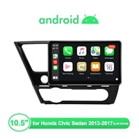 autoradio10 5android 10 car radio stereo head unit for honda civic sedan 2013 2017 left drive multimedia player steering wheel