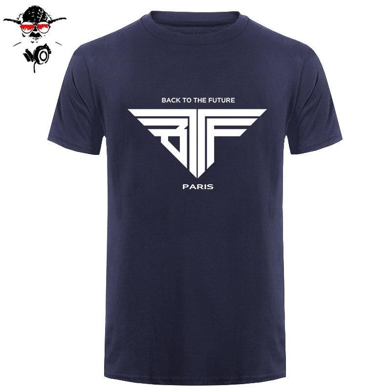 Volver al futuro BTTF camiseta hombres Paris camisetas de algodón O cuello camisa de manga corta para hombre