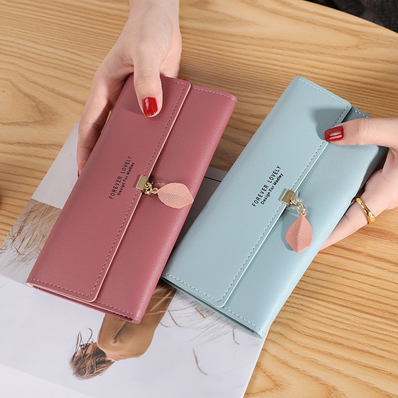 New Women Pu Leather Wallets Female Long Purses Money Bags Phone Pocket Ladies High Quality Wallet C