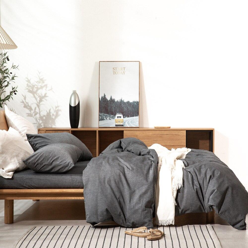 Svilelg غسلها القطن الخالص غطاء سرير قطن 3/4 قطعة مجموعة النمط الياباني أسلوب بسيط 100% القطن الخالص لينة ومريحة