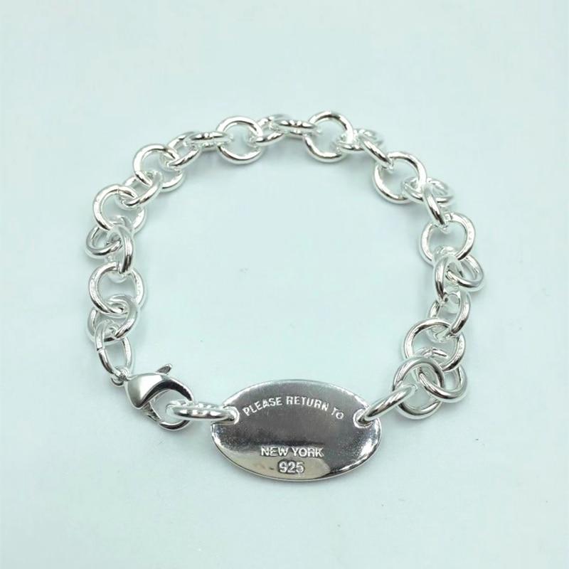 1:1 S925 فضة البيضاوي قلادة الحصري بيع سوار الأصلي شعار عالية الجودة عشاق المجوهرات الزفاف عيد الحب هدية